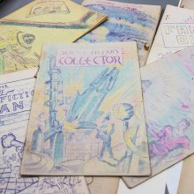 """""""Science Fiction Collector"""" is a zine from the 1930s. Printed with a hectograph or jellygraph printing process, the sensitive ink fades fast when exposed to bright light. It's one of the 10,000 zines in the Hevelin Collection stored at the University of Iowa."""